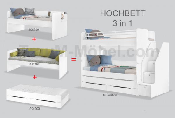 Kinderhochbett mit Schubladentreppe STUDIO weiß 90x200cm mit 2 Betten, Gästebett mit Schubladen, umb