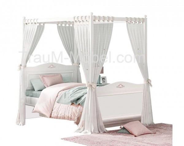 Cilek Rustik Himmelbett 120x200cm weiß mit Vorhang für Mädchen, Bella