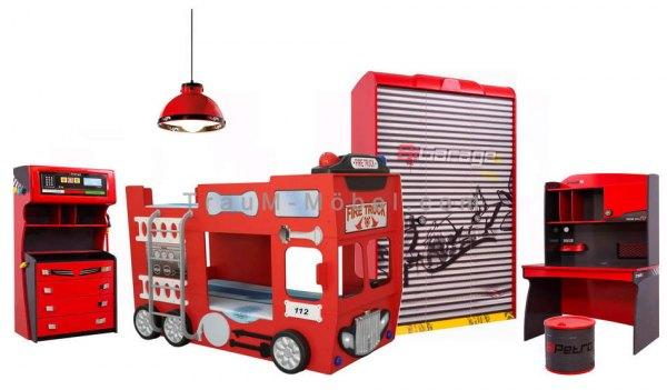 Feuerwehrbettzimmer 4-tlg. RACER ROT mit Schrank, Etagenbett, Schreibtisch und Kommode