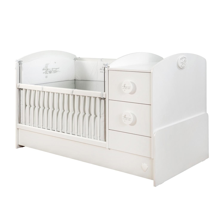 mitwachsendes babybett babycotton in weiss traum. Black Bedroom Furniture Sets. Home Design Ideas