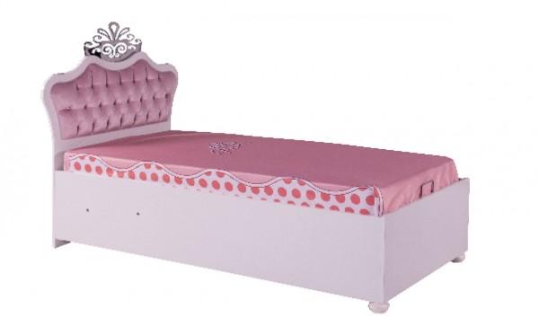 Komplett Stauraumbett 90x200cm ANASTASIA rosa inkl. Matratze + Bezug - Sparset 3 tlg