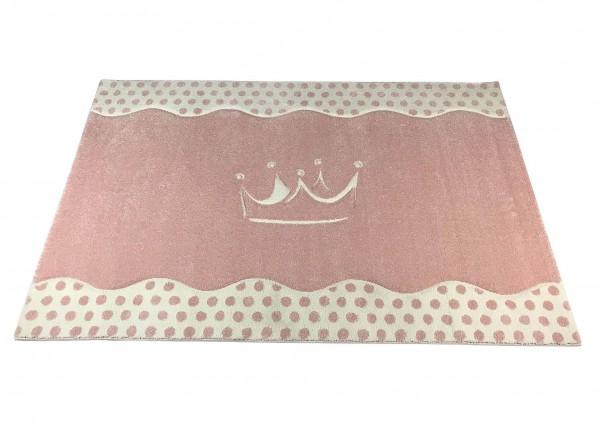 Teppich PRINCESS 3D pastellrosa mit Krone (120x180cm)