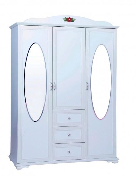 Kleiderschrank CINDY 3-türig weiß