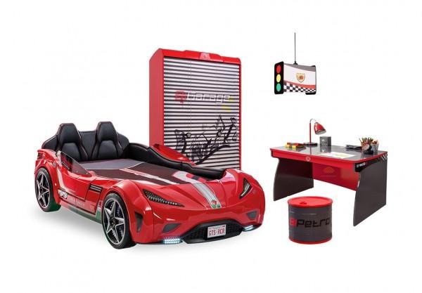 Autobettzimmer Komplettset 5-tlg. GTS ROT mit Matratze, Schrank, Tisch, Kommode