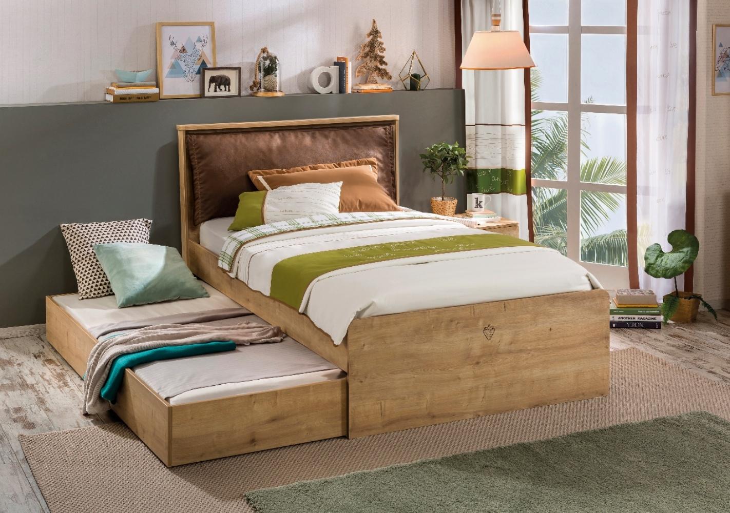 mocha jugend bett 120x200cm natur kopfteil gepolstert traum m. Black Bedroom Furniture Sets. Home Design Ideas