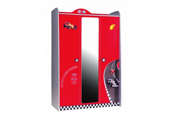 TURBO Kleiderschrank 3 türig rot mit Spiegel