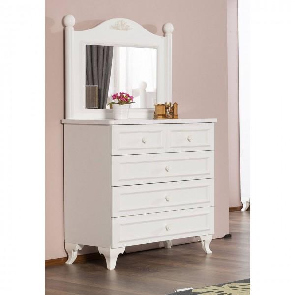 Wäschekommode SIENA mit Spiegel weiß