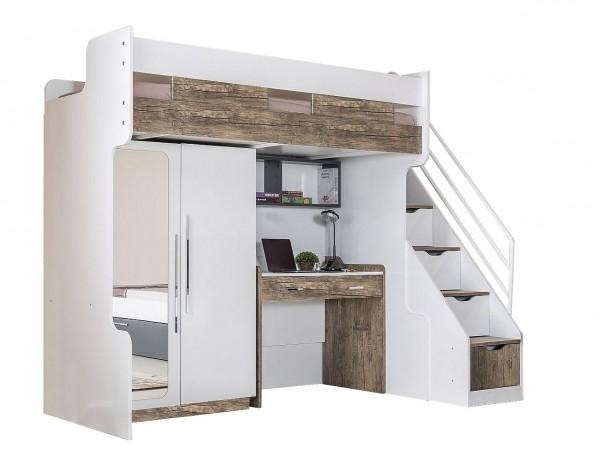 Hochbett Compact V3 weiß-natur mit Schreibtisch, Kleiderschrank und Regal