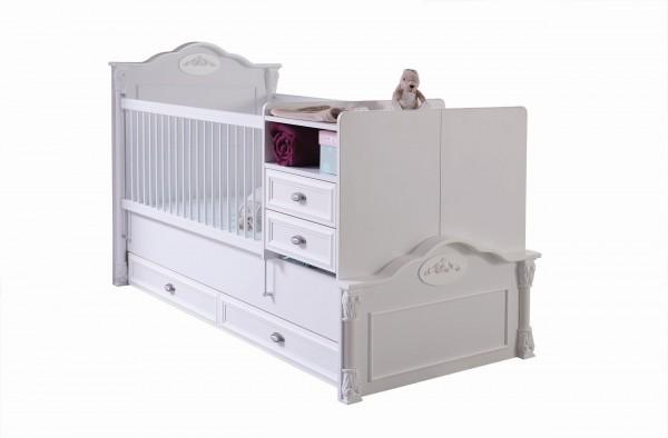 Umbaubares Babybett ROMANTIC II mit Bettschubkasten 80x180cm, 4-teilig