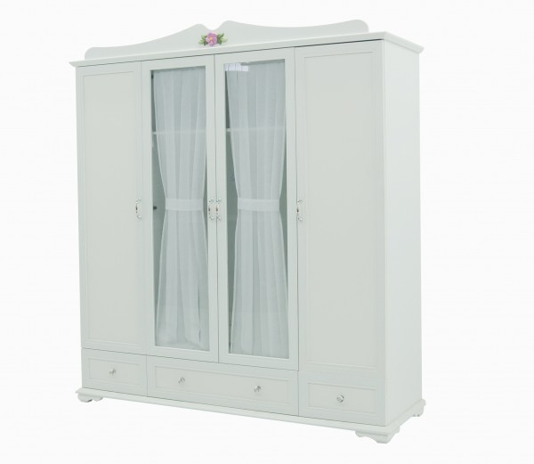 Kleiderschrank CINDY weiß, 4-teilig