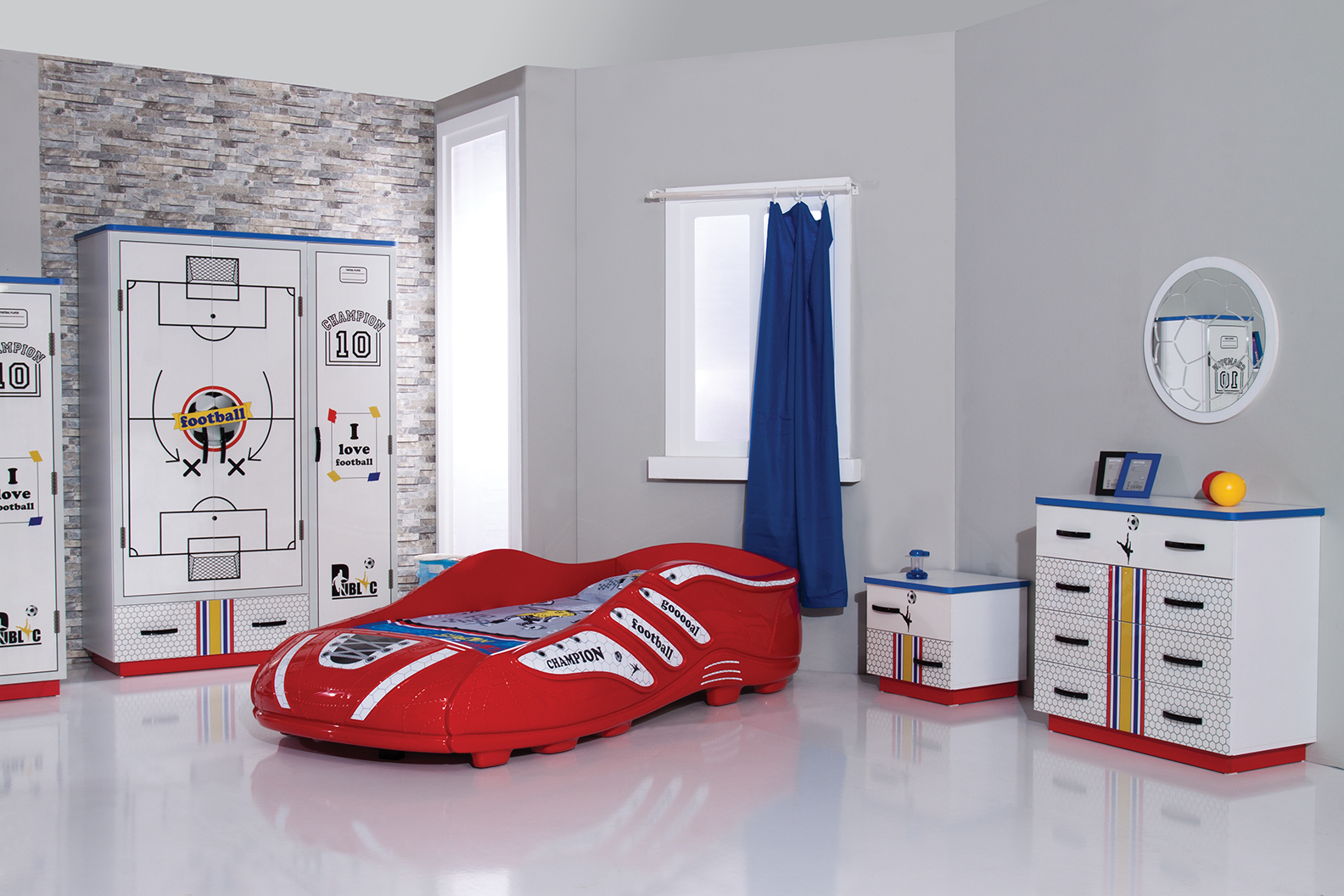 kinderzimmer fussballzimmer wohnideen. Black Bedroom Furniture Sets. Home Design Ideas