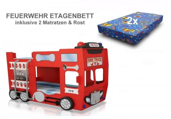 Kinder Auto Etagenbett FEUERWEHRBETT rot mit 2 Matratzen und Rost, Sparangebot
