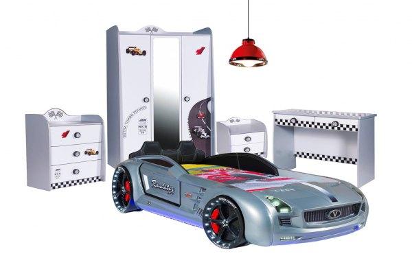 SPAR-SET Autobettzimmer TURBO silber mit Roadster, 6-teilig