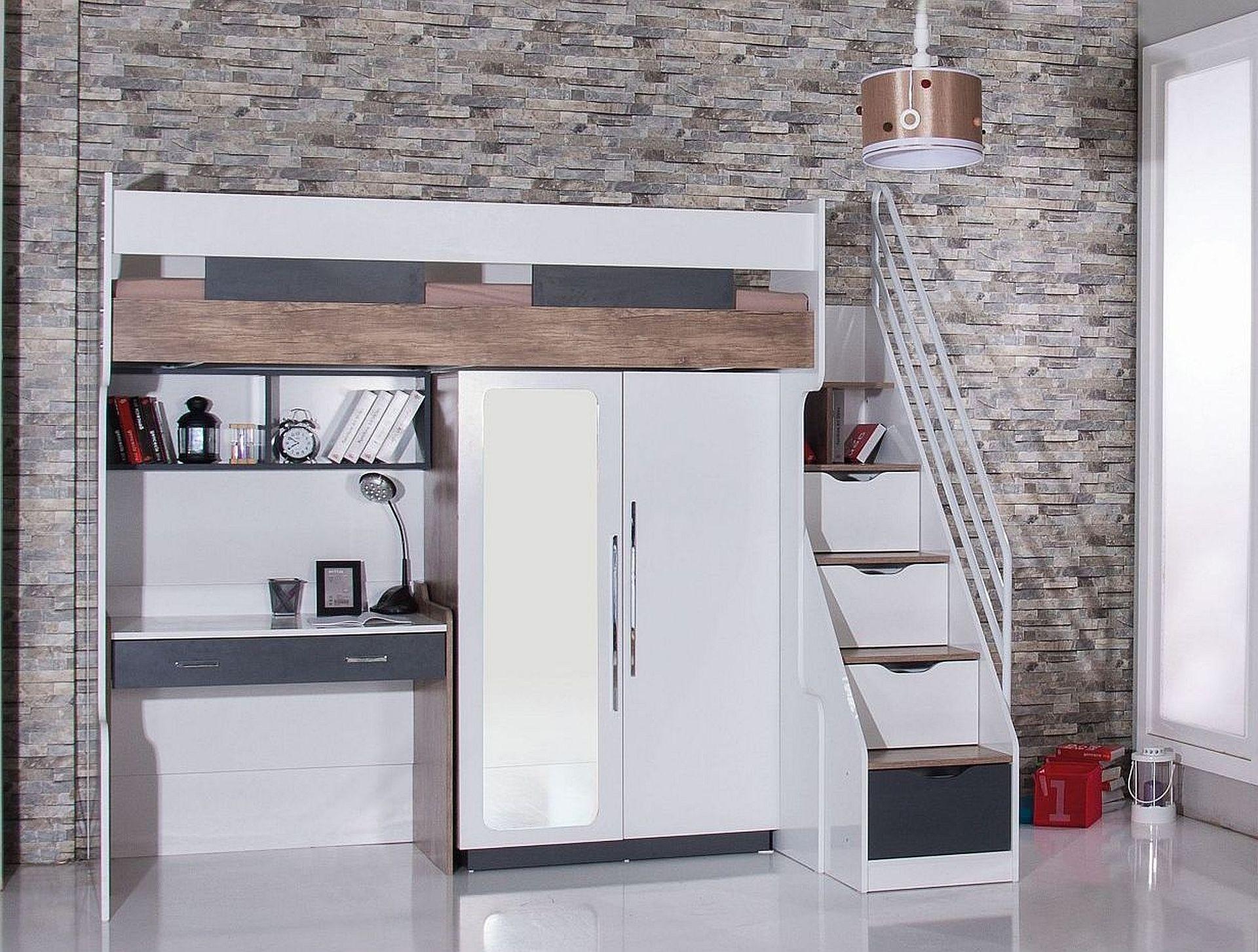 multifunktionshochbett compact 5 mit schreibtisch kleiderschrank hochbett traum m. Black Bedroom Furniture Sets. Home Design Ideas