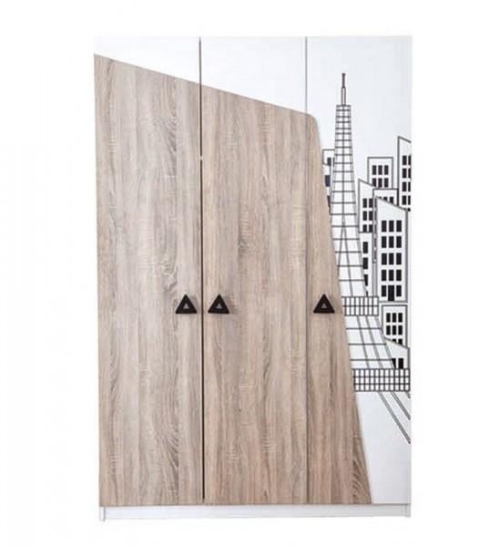 Kleiderschrank TOWER 3-trg. braun/weiss