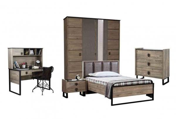 Jugendzimmer 5-teilig Set WOOD mit Schrank 4 trg., Bett, Schreibtisch, Wäschekommode, Nachttisch