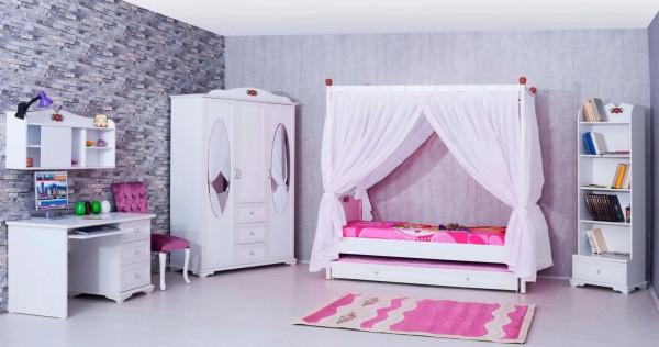 Mädchenzimmer Set 8 tlg. CINDY mit Himmelbett