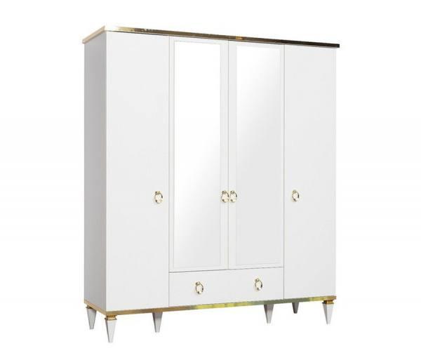 Luxus Kleiderschrank RIXOS weiß und gold mit 2 Spiegeltüren