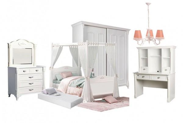 Komplett Kinderzimmer 5- tlg. ROMANTIK weiß mit Himmelbett und Schiebetürenschrank