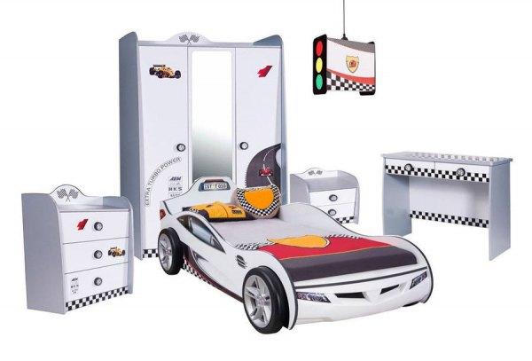 Komplett Autozimmer weiß TURBO 5 tlg. mit Cilek Coupe Autobett Holz