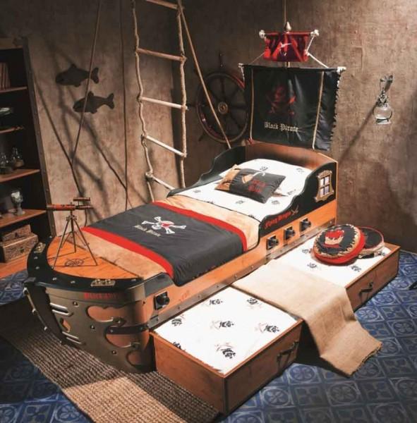 Pirat Schiffbett Black Pirate mit Gästebett, Fahne und Mast
