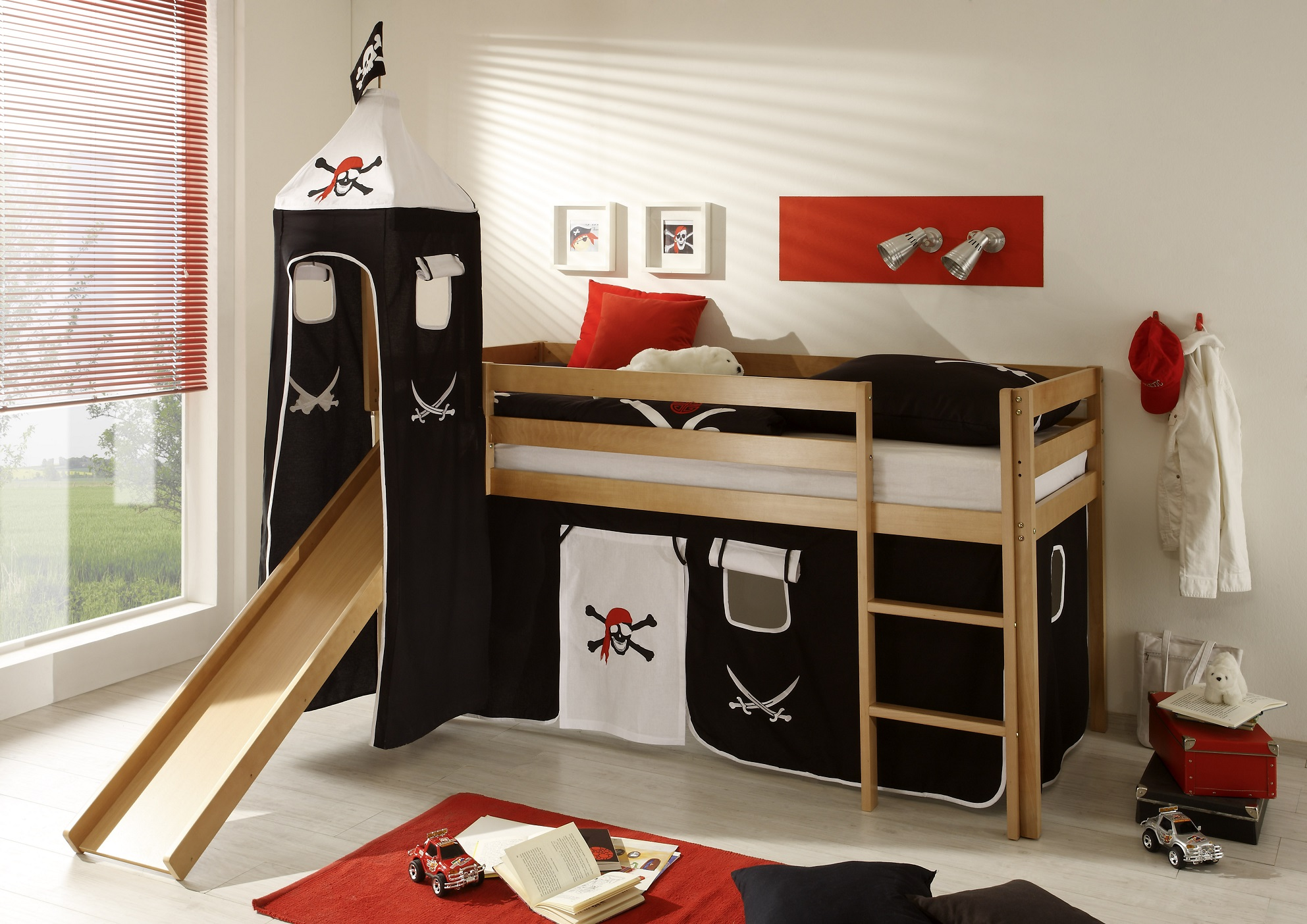 pirat hochbett mit turm rutsche weiss buche massvi 90x200cm traum. Black Bedroom Furniture Sets. Home Design Ideas
