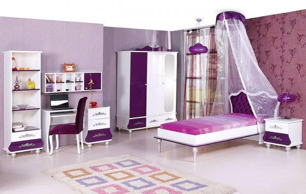 Kinderzimmer Komplett ANASTASIA 3 lila - Sparset 8 tlg