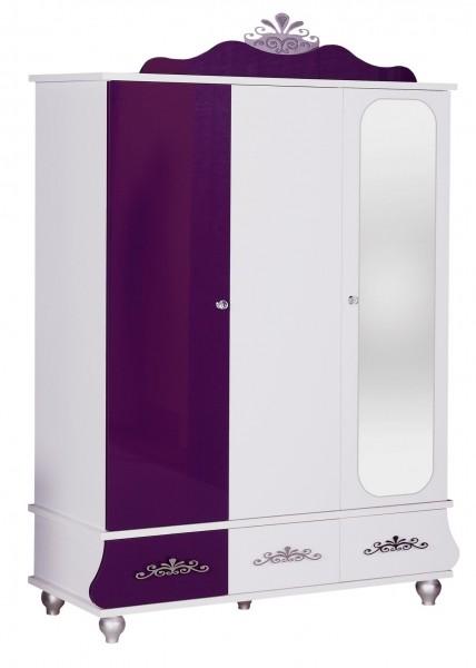 Kleiderschrank ANASTASIA lila 3-türig mit Spiegel, glänzend