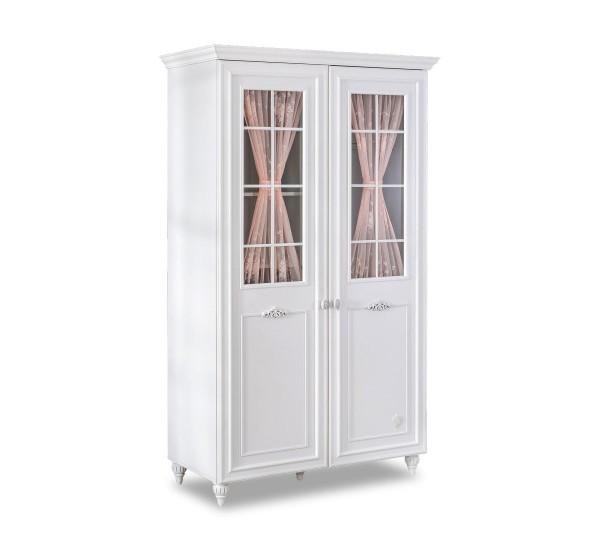Cilek Romantik Kleiderschrank 2 türig weiß mit Vorhang und Glastüren