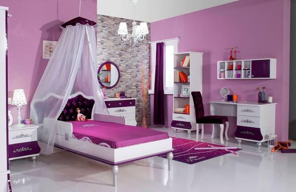 Kinderzimmer Komplett ANASTASIA 2 lila - Sparset 11 tlg
