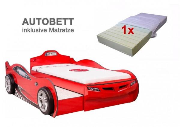 Cilek Coupe Racer Holzautobett in rot mit Gästebett und Matratze