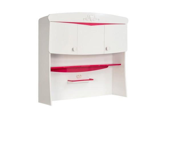 AUFSATZ mit USB für Schreibtisch SWEETY weiss/rot