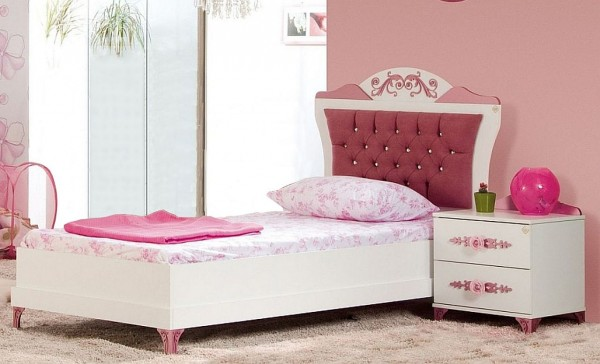 SPAR-SET6 Kinderbett PRETTY rosa mit Nachtkonsole, 90x200cm