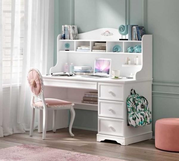 Schreibtisch mit Aufsatz Bella weiß mit Schubladen