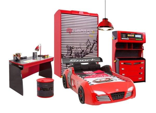 Komplettes Autobettzimmer RACER 5-teilig mit Turbo V8 Sport rot