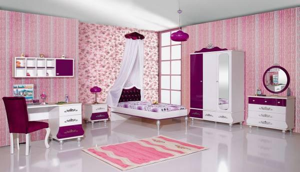 Kinderzimmer Komplett ANASTASIA 6 lila - Sparset 9 tlg