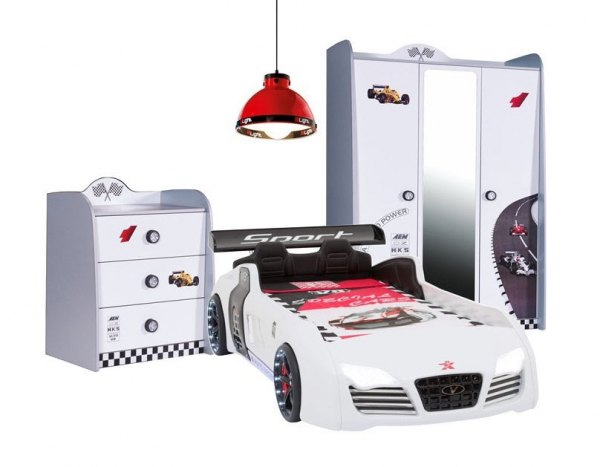 Autozimmer für jungs in weiß mit V8 Autobett Sparpreis