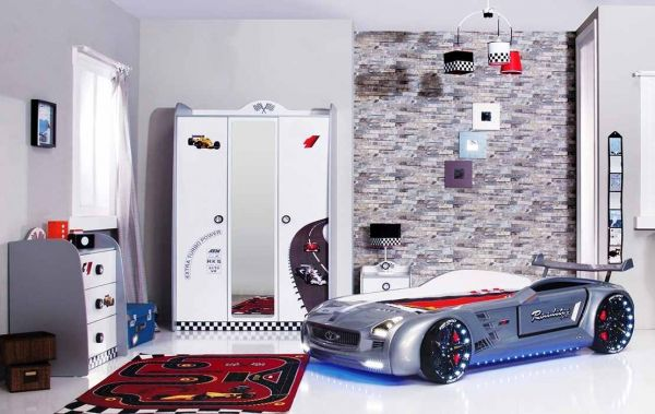 SPAR-SET Autobettzimmer TURBO V8 weiß mit Roadster, 4-teilig
