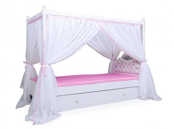 Himmelbett ANASTASIA rosa mit Bettschubkasten, Rost, 120x200cm