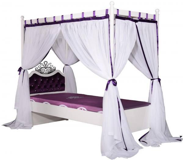 Himmelbett ANASTASIA lila mit Vorhang, Rost, gepolstert, 90x200cm