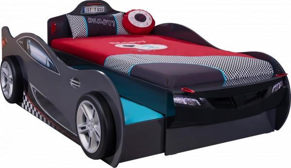 Autobett RACER DOUBLE schwarz inkl. Bettschubkasten