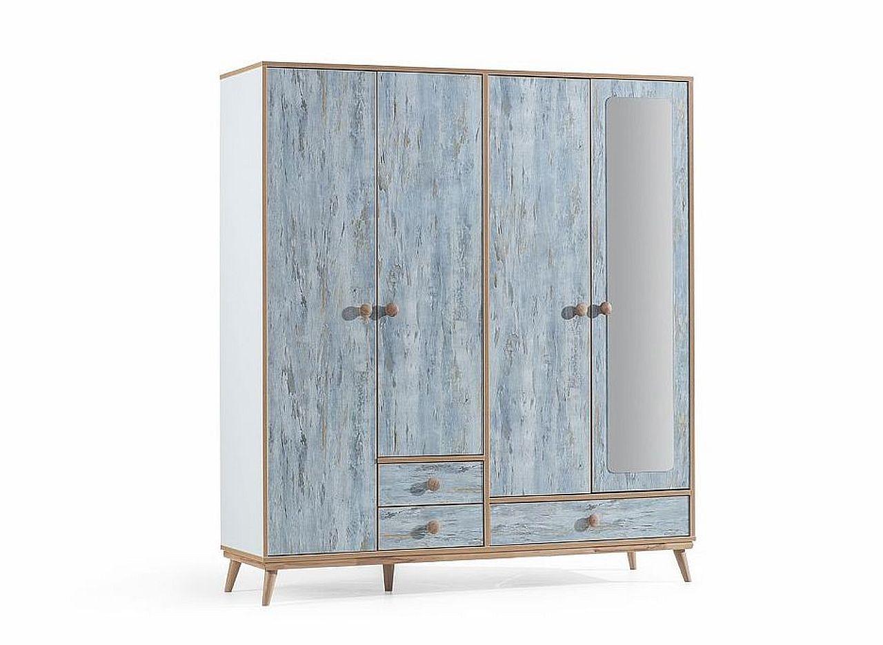 aquasi kleiderschrank 4 t rig blau buche traum m. Black Bedroom Furniture Sets. Home Design Ideas