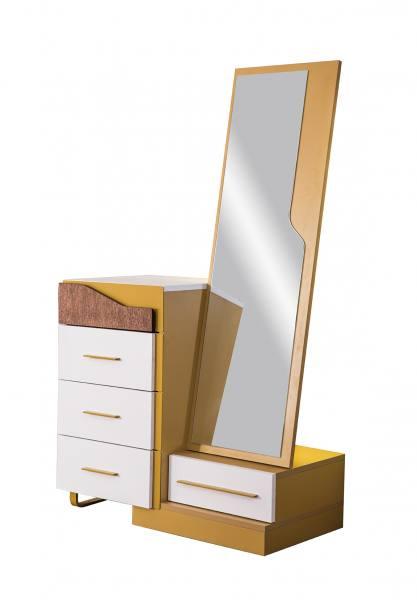 Wäschekommode MOCKA mit Spiegel weiß, braun