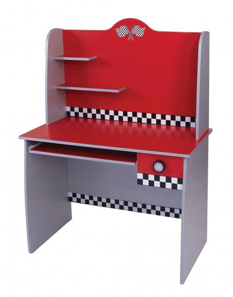 """Schreibtisch inkl. Aufsatz """"TURBO"""" rot AUSLAUF"""