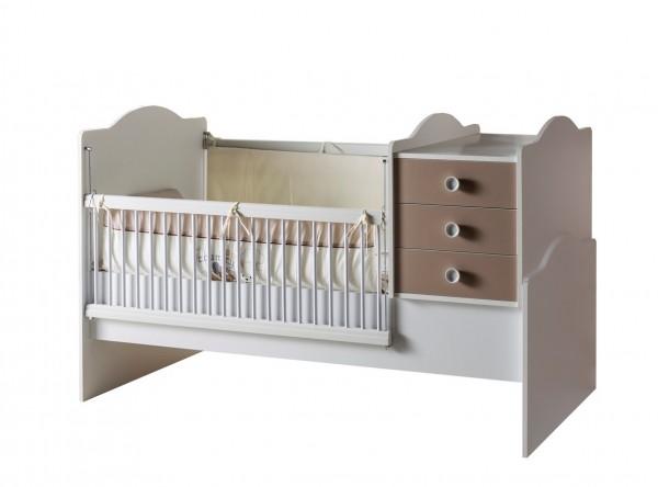 Convertible Babybett 3 tlg. BABYLATTEE (80x180cm umbaubar)