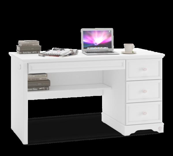 Schreibtisch RUSTIKA weiß mit 4 Schubladen