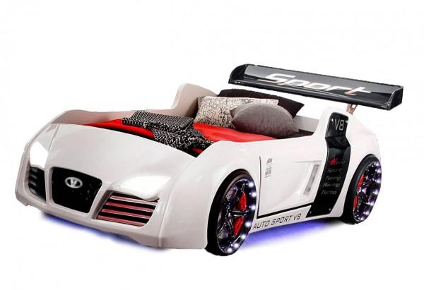 Kinder Autobett Turbo V8 in weiß mit Spoiler