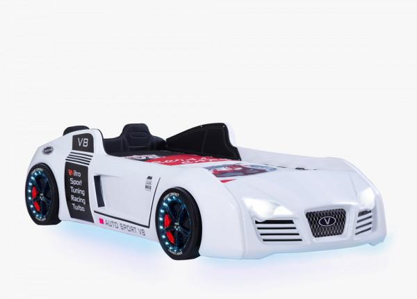 Autobett Turbo V8 Sport weiß mit Sportpack