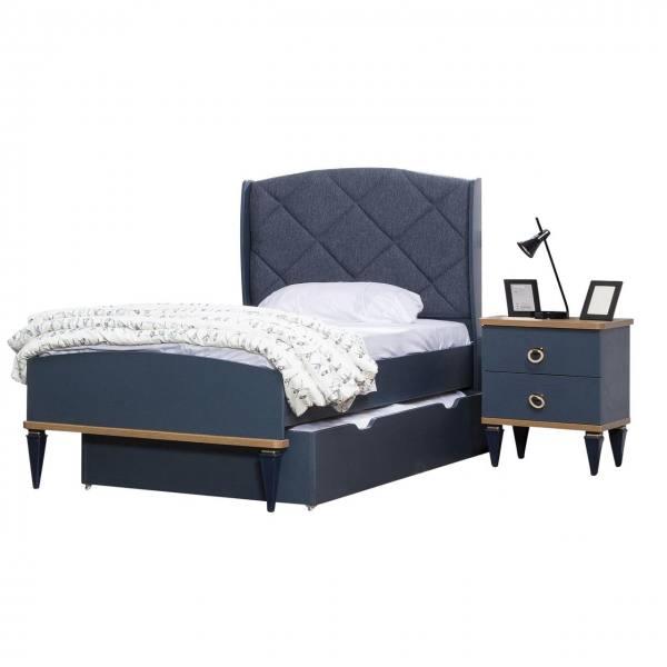 Bett MOSS mit Bettschubkasten und Nachtkonsole 100x200cm blau