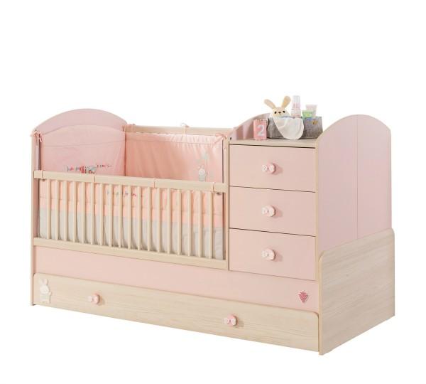 Umbaubares Babybett BABYGIRL mit Bettschubkasten, 4-teilig